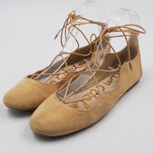 Sam Edelman Leather Lace Up Suede Ballet Flat
